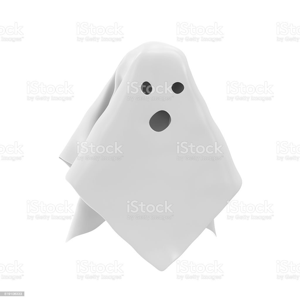The Ghost isolated on white background stock photo
