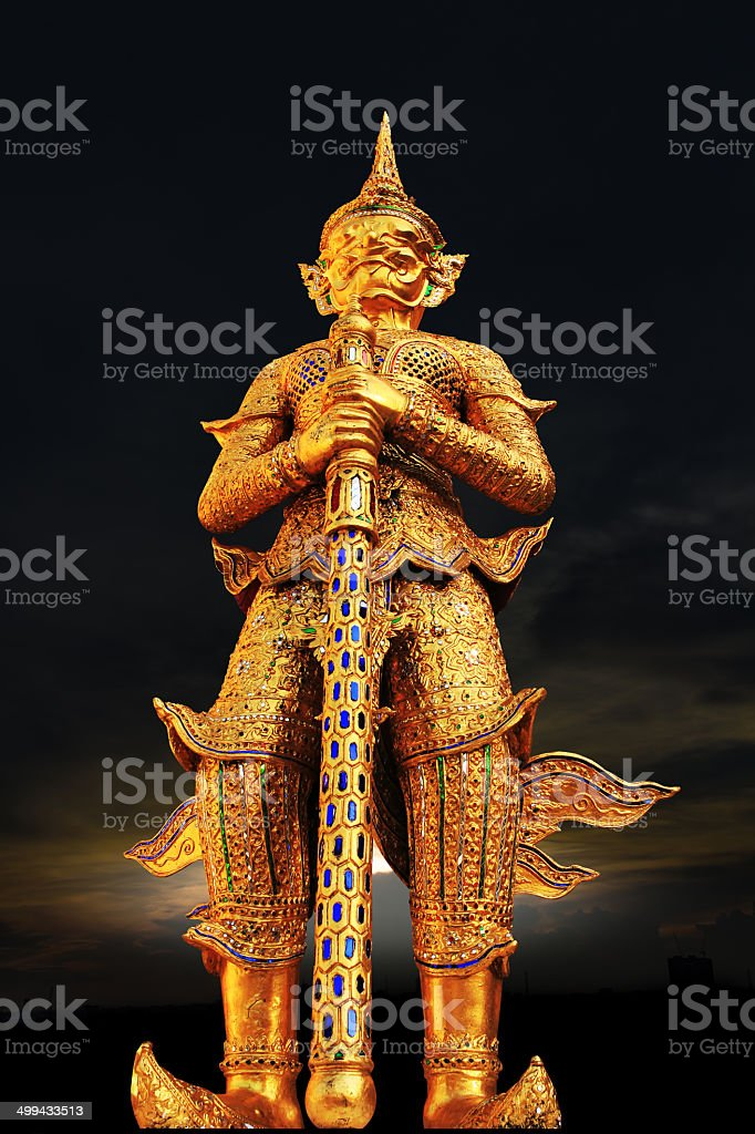 The Giant carry at Grand palace of Thailand stock photo