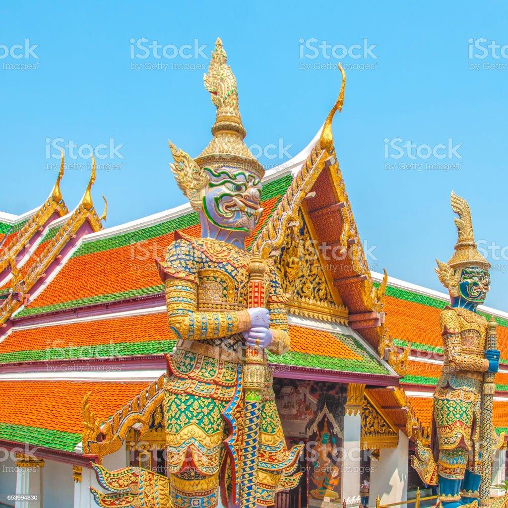 The Giant Demon Guardian at Wat Phra Kaew, Grand Palace, Bangkok, Thailand. stock photo
