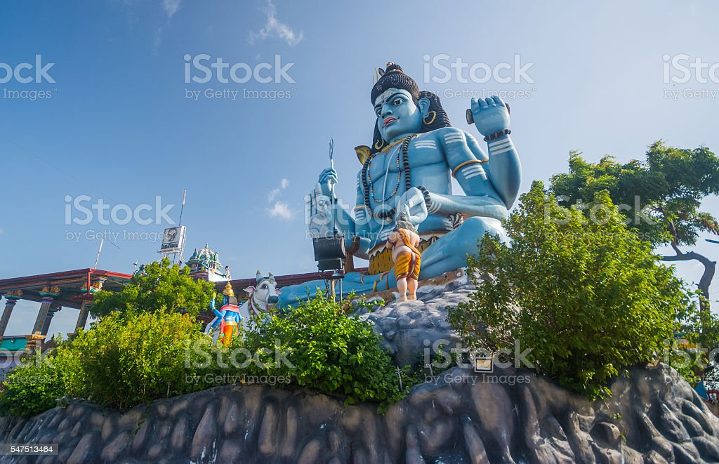The giant statue of god Shiva Koneshwaram, Trincomalee Sri Lanka stock photo