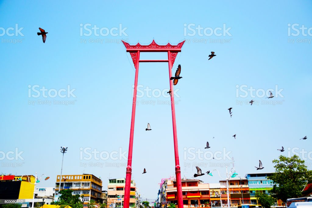 The giant swing ,Wat Suthat Temple, Bangkok, Thailand stock photo