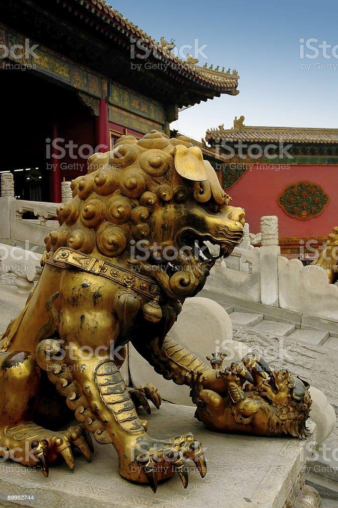 The Gilded bronze lion stock photo