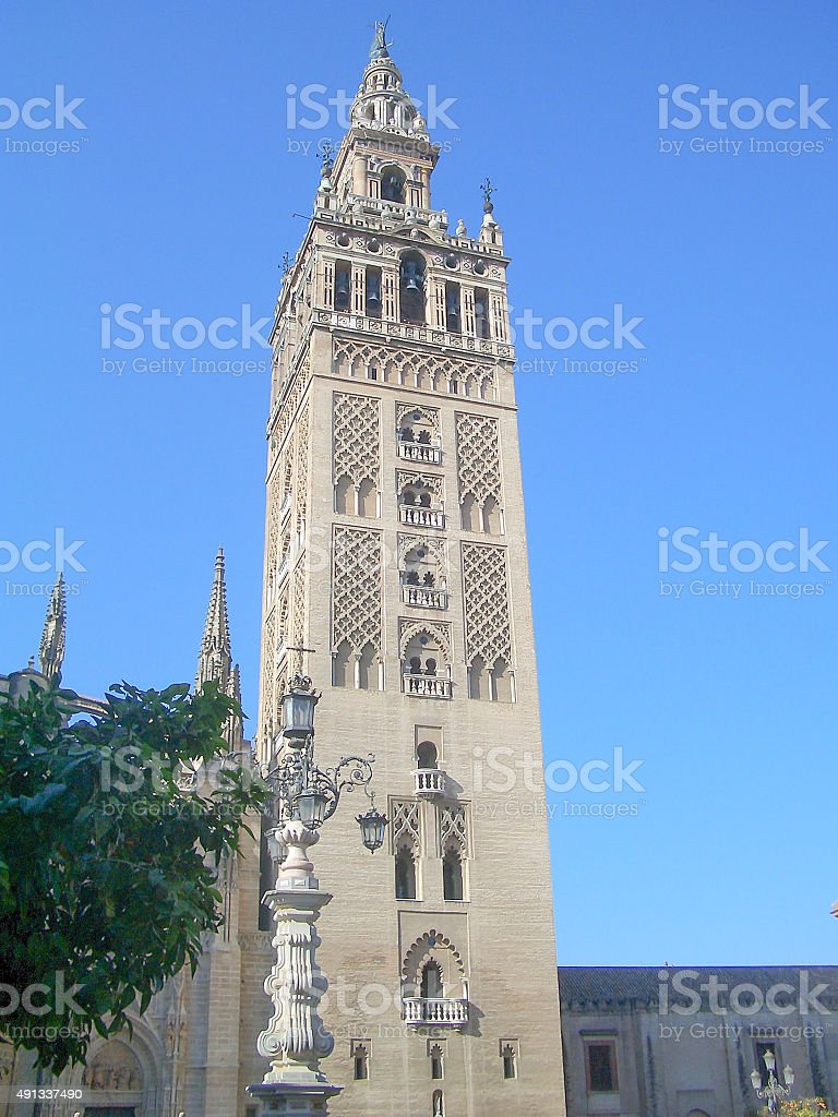 The Giralda, Bell Tower of Sevilla Cathedral, formerly a minaret stock photo