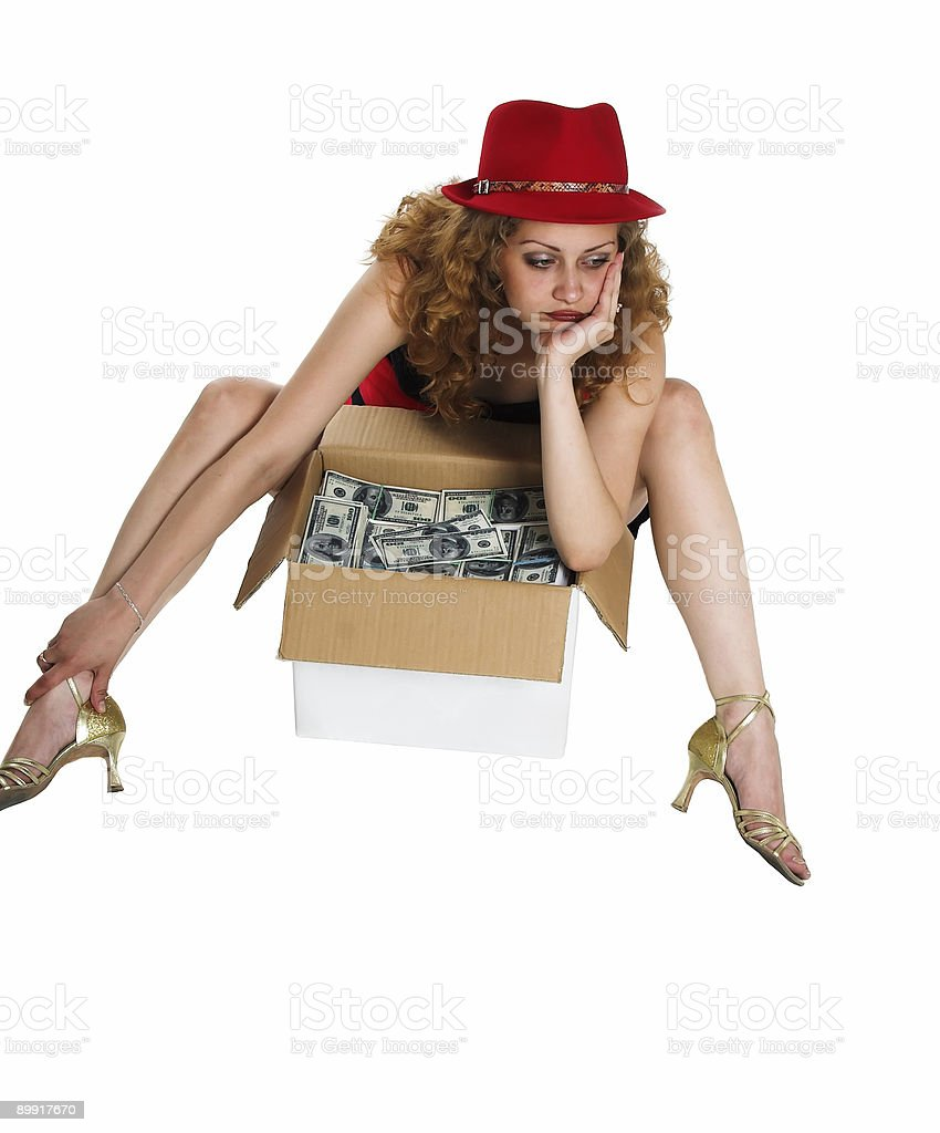 The girl and a box with moneyAjnjuhfa royalty-free stock photo