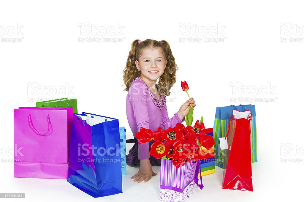 The girl and gift royalty-free stock photo