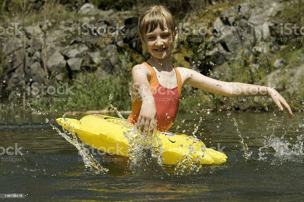 The girl bathes on lake royalty-free stock photo