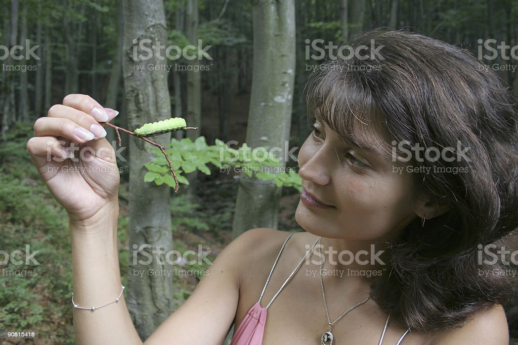 The girl considers green Caterpillar. royalty-free stock photo