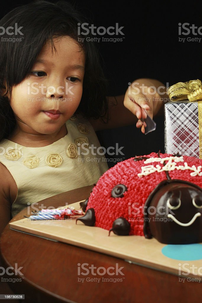 The girl cutting her birthday cake. royalty-free stock photo
