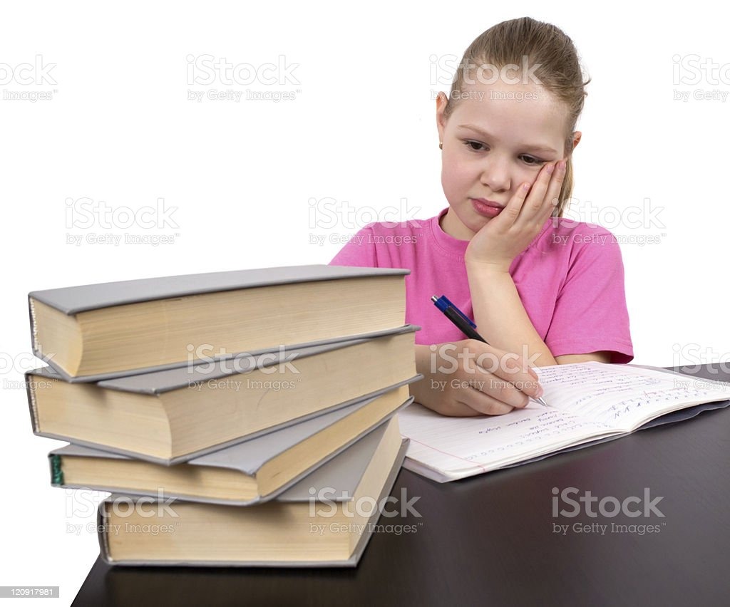 The girl does homework royalty-free stock photo