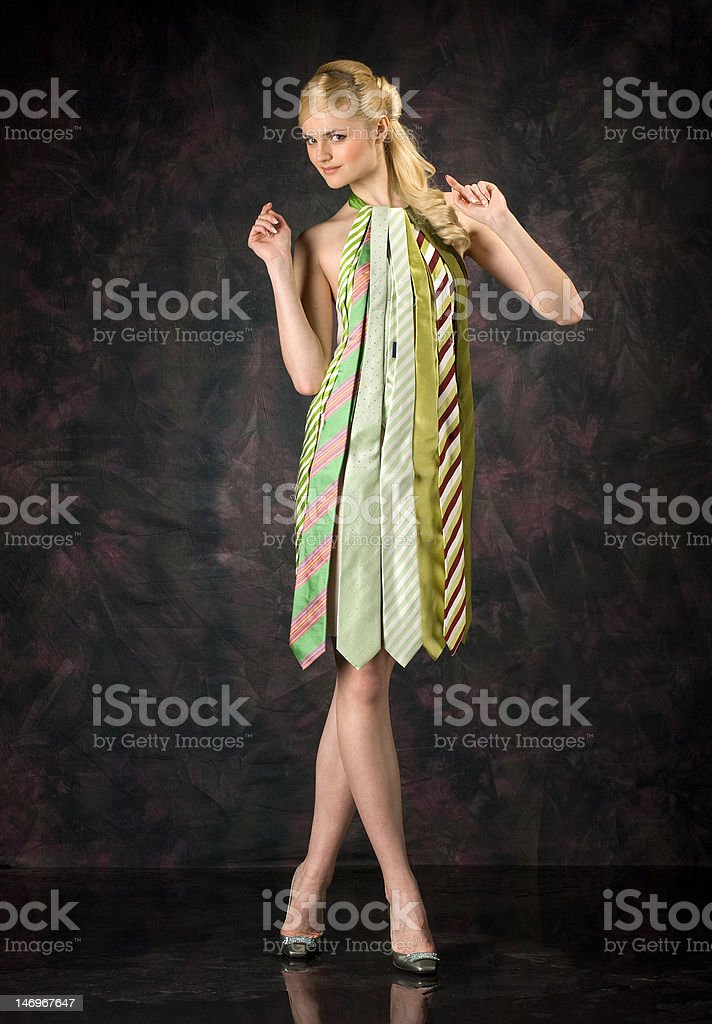 The girl in a dress from ties stock photo