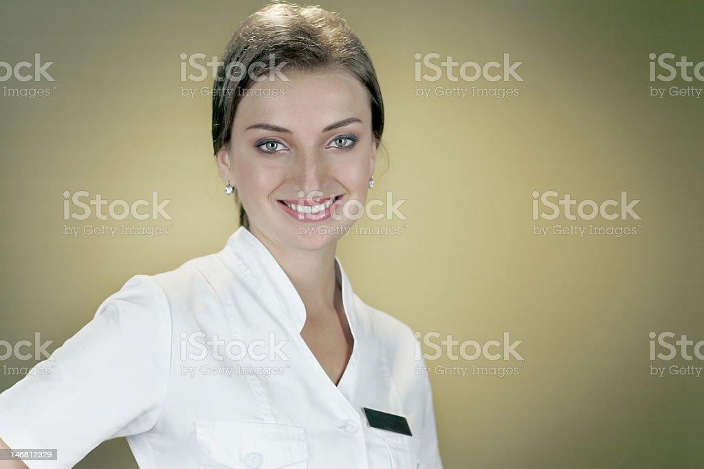 The girl in a white blouse royalty-free stock photo