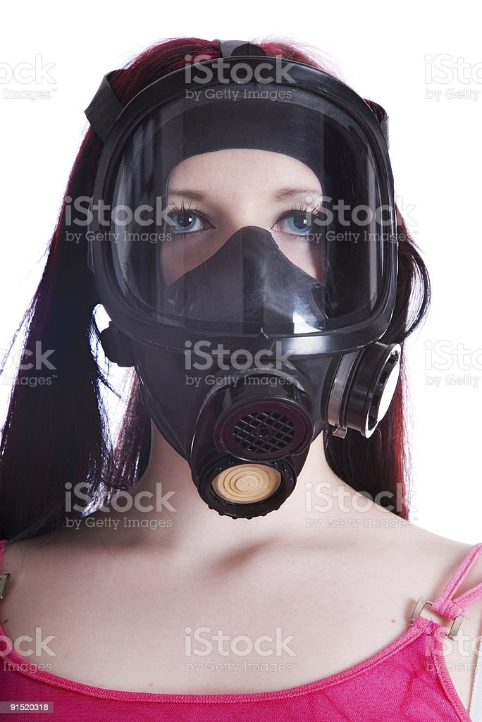 The girl in gas mask royalty-free stock photo