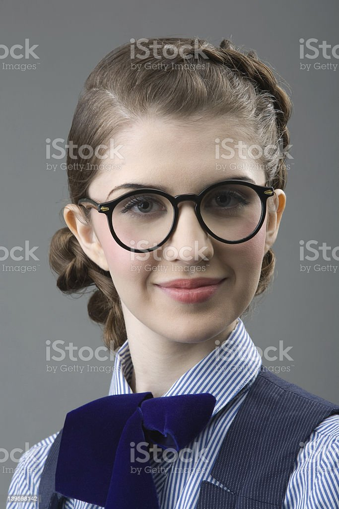 The girl in glasses royalty-free stock photo