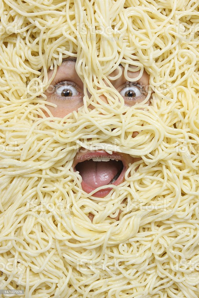 The girl in noodles stock photo