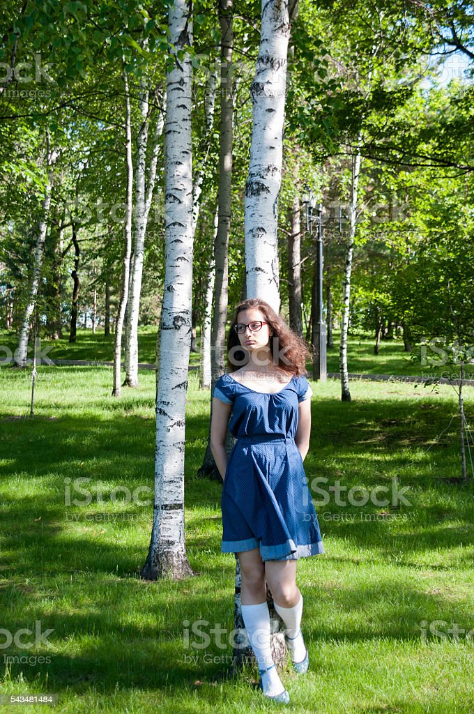 The girl in the blue dress standing among birch trees stock photo