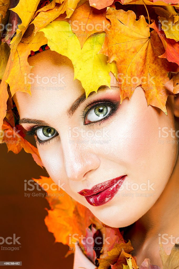 The girl in the image of the autumn. royalty-free stock photo