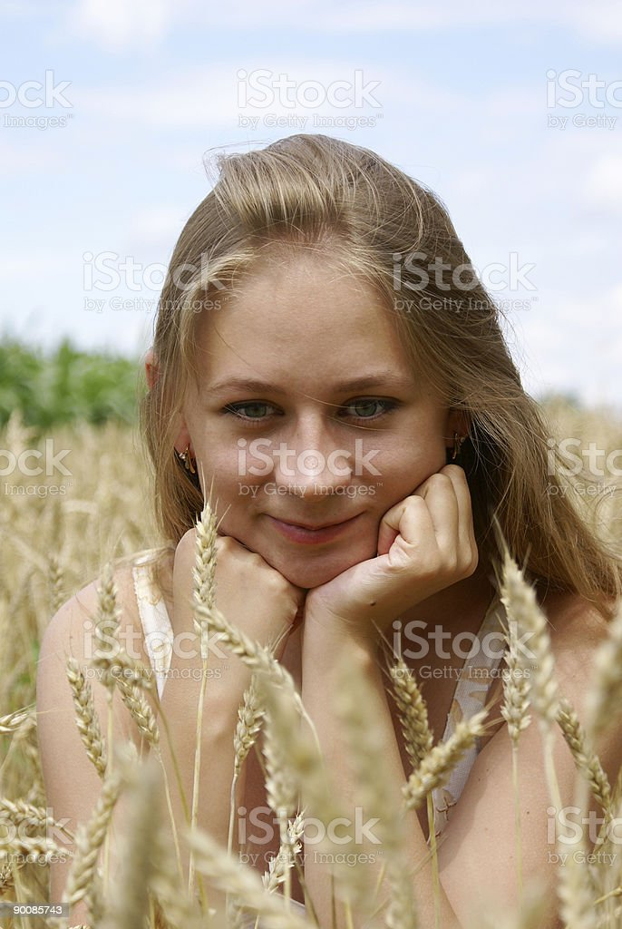 The girl in wheat royalty-free stock photo