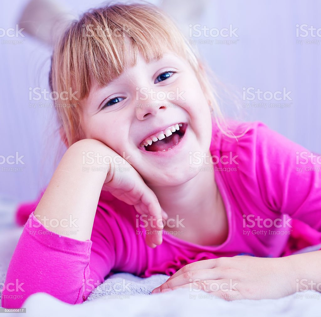 the girl is 7 years old stock photo