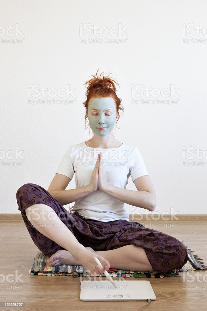 The girl is engaged in yoga and not only. royalty-free stock photo