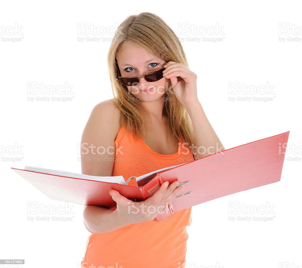 The girl  looking atop of glasses royalty-free stock photo
