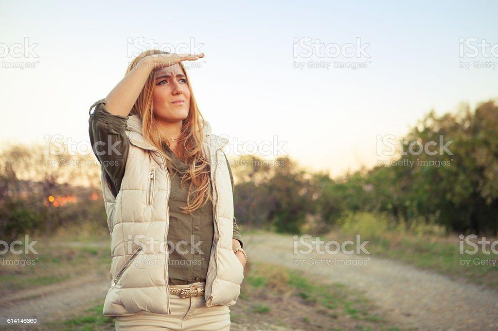 The girl looks away stock photo