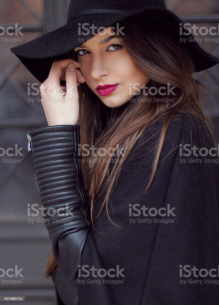 The girl modelling front of the camera stock photo