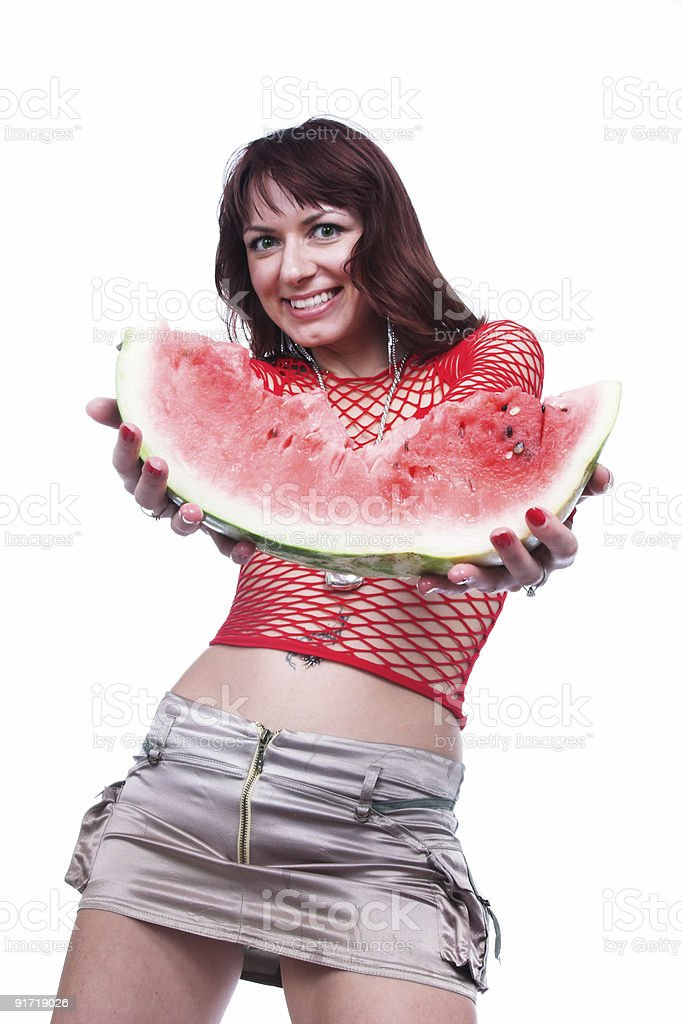 The girl offers a water-melon royalty-free stock photo