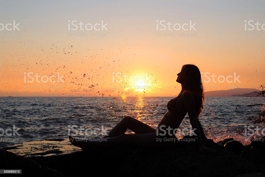 The girl on a decline stock photo