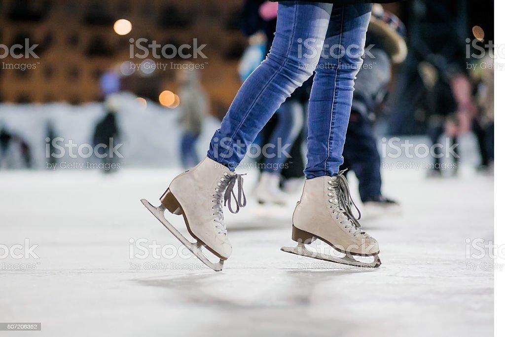 The girl on the figured skates stock photo