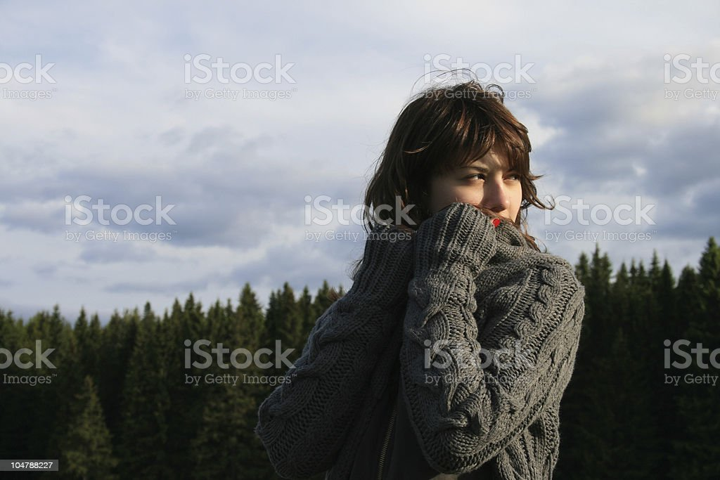 The girl on walk. royalty-free stock photo