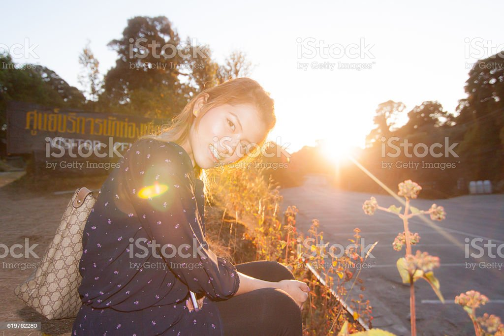 The girl posing in The Royal Agricultural Station Inthanon stock photo