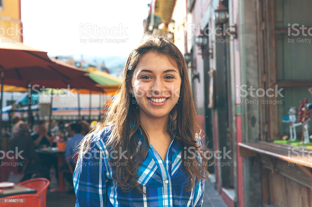 the girl smiling to me stock photo