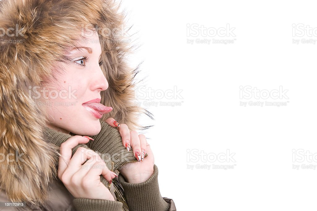 The girl stick one's tongue out royalty-free stock photo