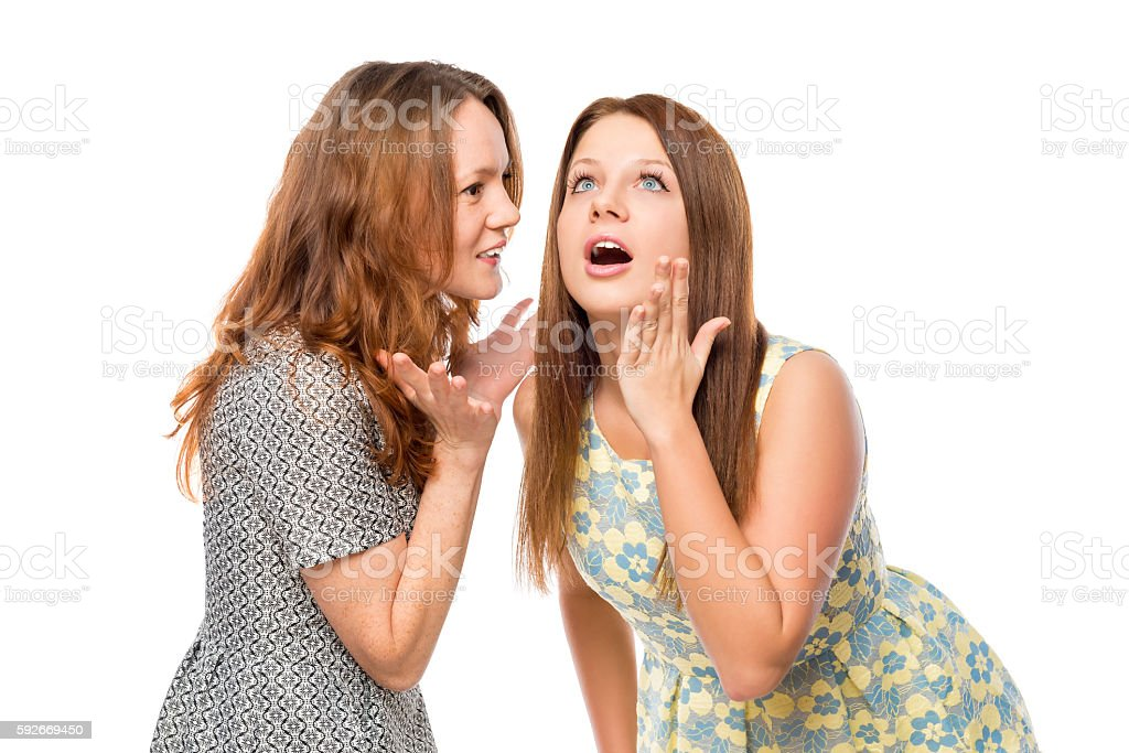 the girl told her friend shocking news stock photo