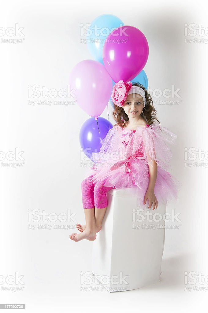 The girl with a balloons royalty-free stock photo