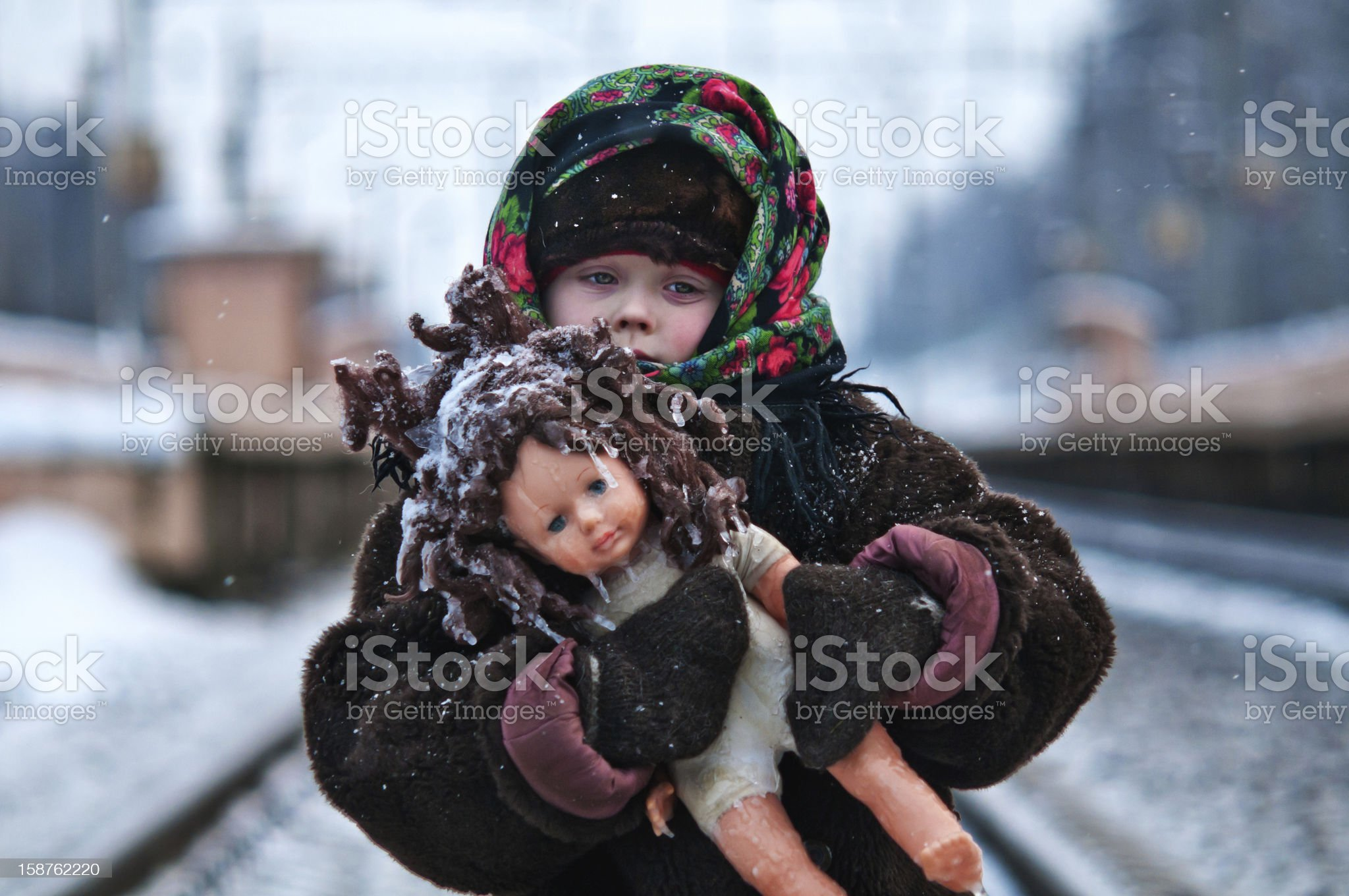 the girl with a doll/??????? ? ?????? royalty-free stock photo
