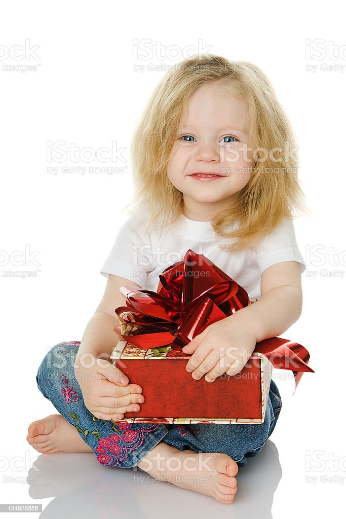The girl with a gift royalty-free stock photo