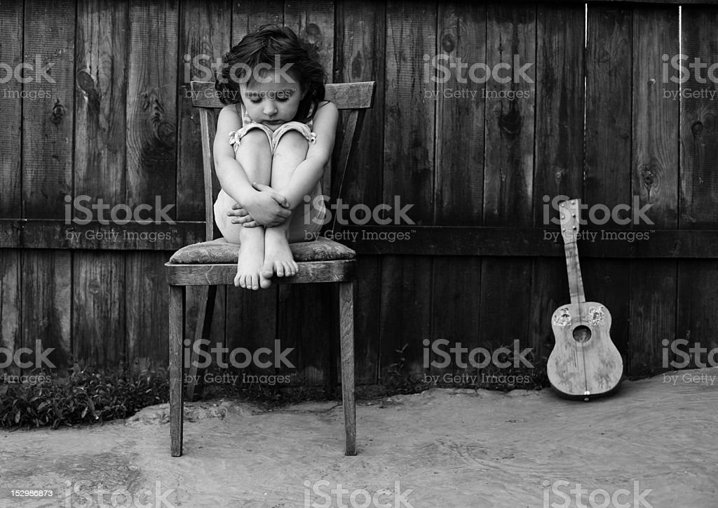 The girl with a guitar royalty-free stock photo