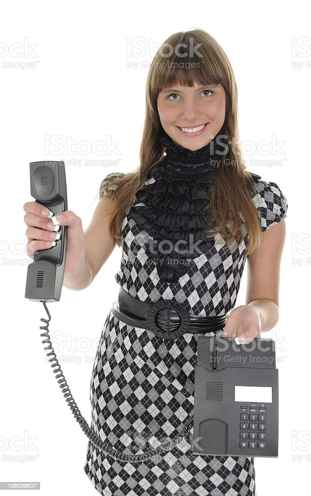 The girl with a handset stock photo