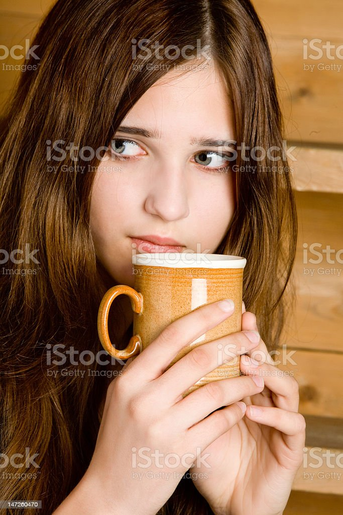 The girl with a mug royalty-free stock photo