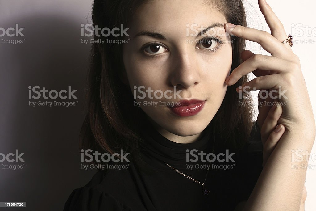 The girl with a ring. royalty-free stock photo