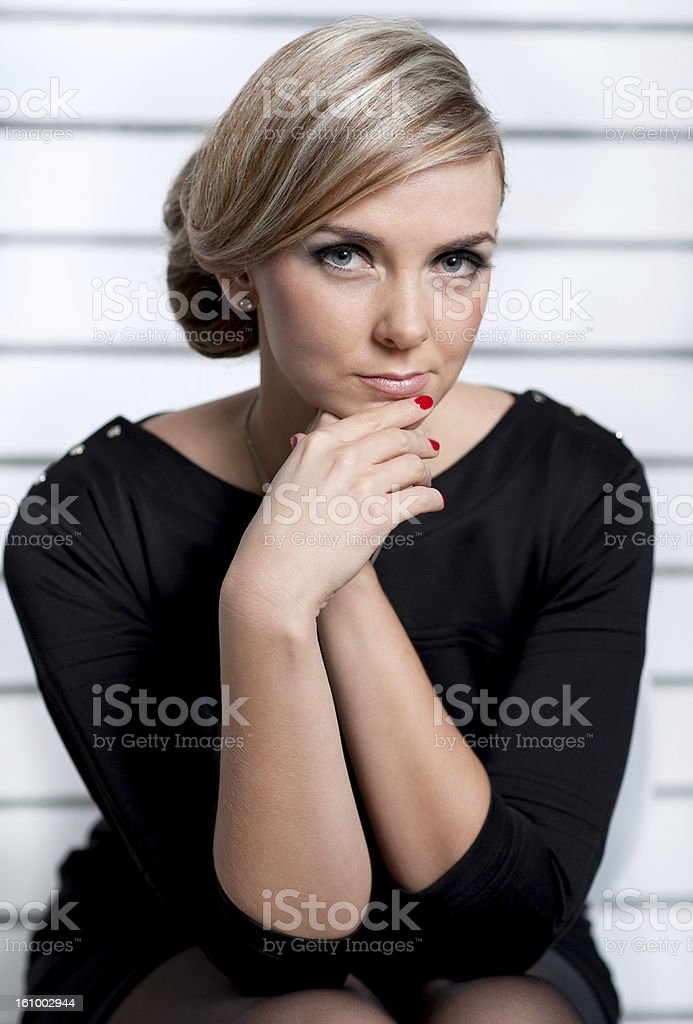 The girl with a thoughtful look royalty-free stock photo