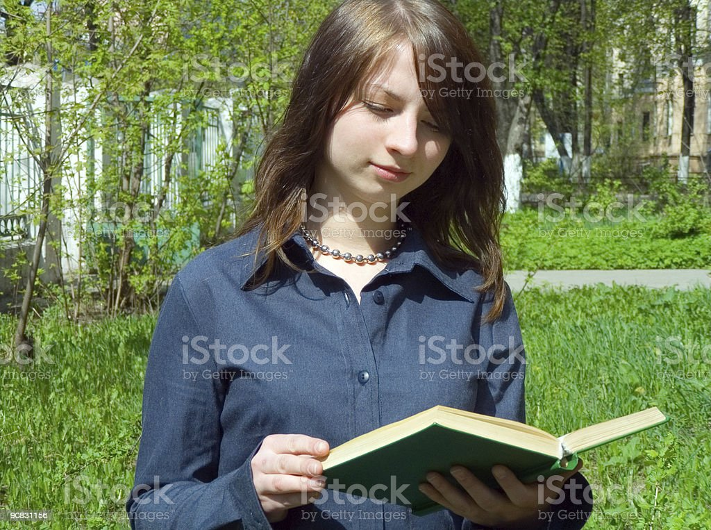 The girl with book stock photo