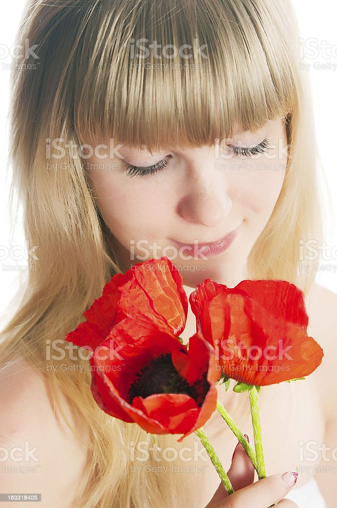 The girl with flowers royalty-free stock photo