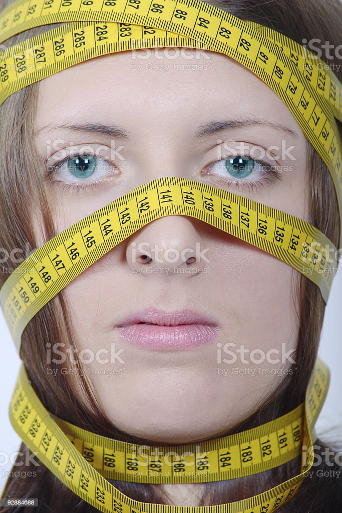 Dziewczyna z pomiaru metr Runda głowy zbiór zdjęć royalty-free