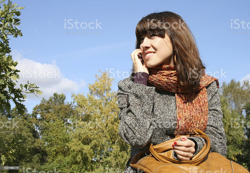 The girl with phone royalty-free stock photo
