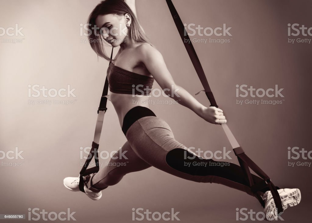 The girl with the TPX straps stock photo