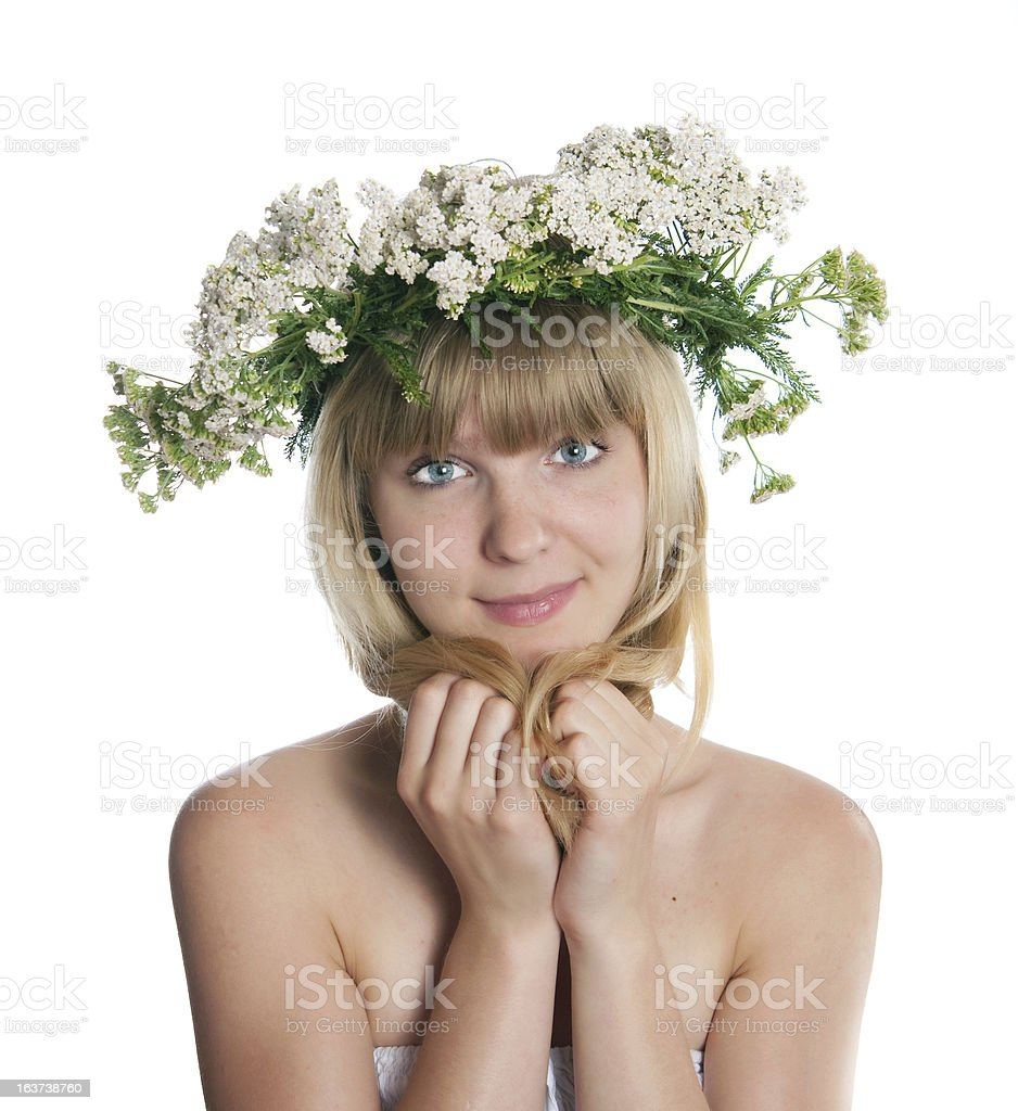 The girl with yarrow wreath royalty-free stock photo