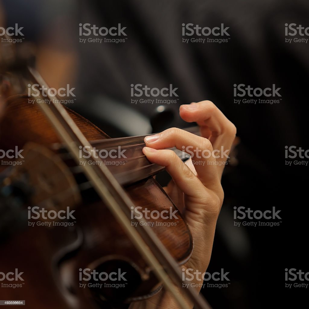 The girl's hand on the strings of a violin stock photo