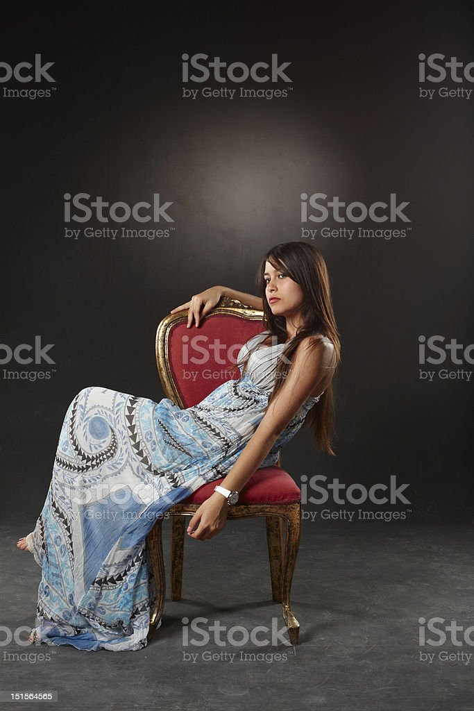 The girls sitting chair royalty-free stock photo